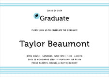 baby shower invitations - bahama blue - striped scholar (set of 10)