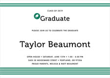 baby shower invitations - deep green - striped scholar (set of 10)