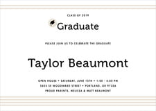baby shower invitations - champagne - striped scholar (set of 10)