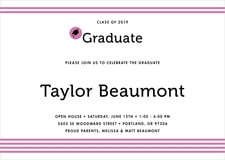 baby shower invitations - radiant orchid - striped scholar (set of 10)
