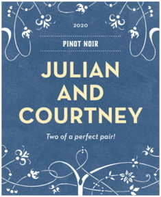 Garden Vines wedding wine labels