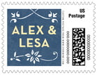 Garden Vines wedding postage stamps