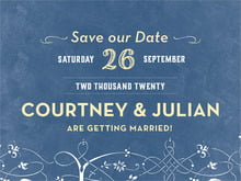 custom save-the-date cards - navy & yellow - garden vines (set of 10)