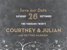 custom save-the-date cards - black & gold - garden vines (set of 10)