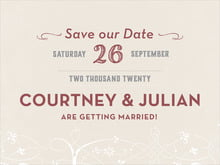 custom save-the-date cards - champagne & marsala - garden vines (set of 10)