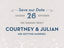 custom save-the-date cards - stone & navy - garden vines (set of 10)