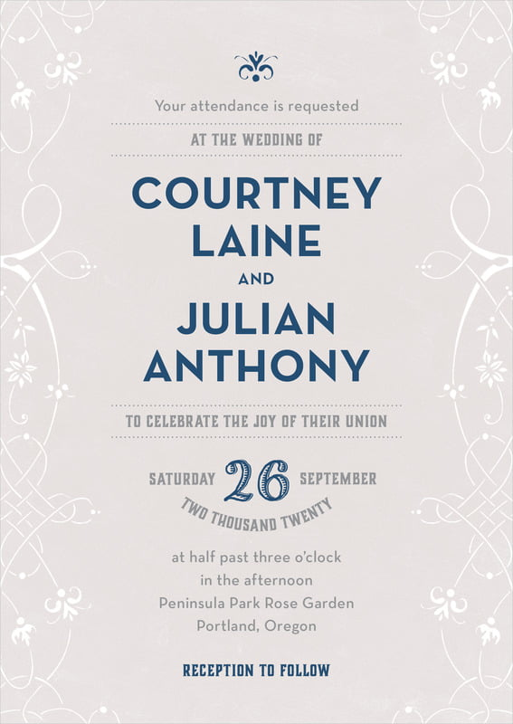 custom invitations - stone & navy - garden vines (set of 10)