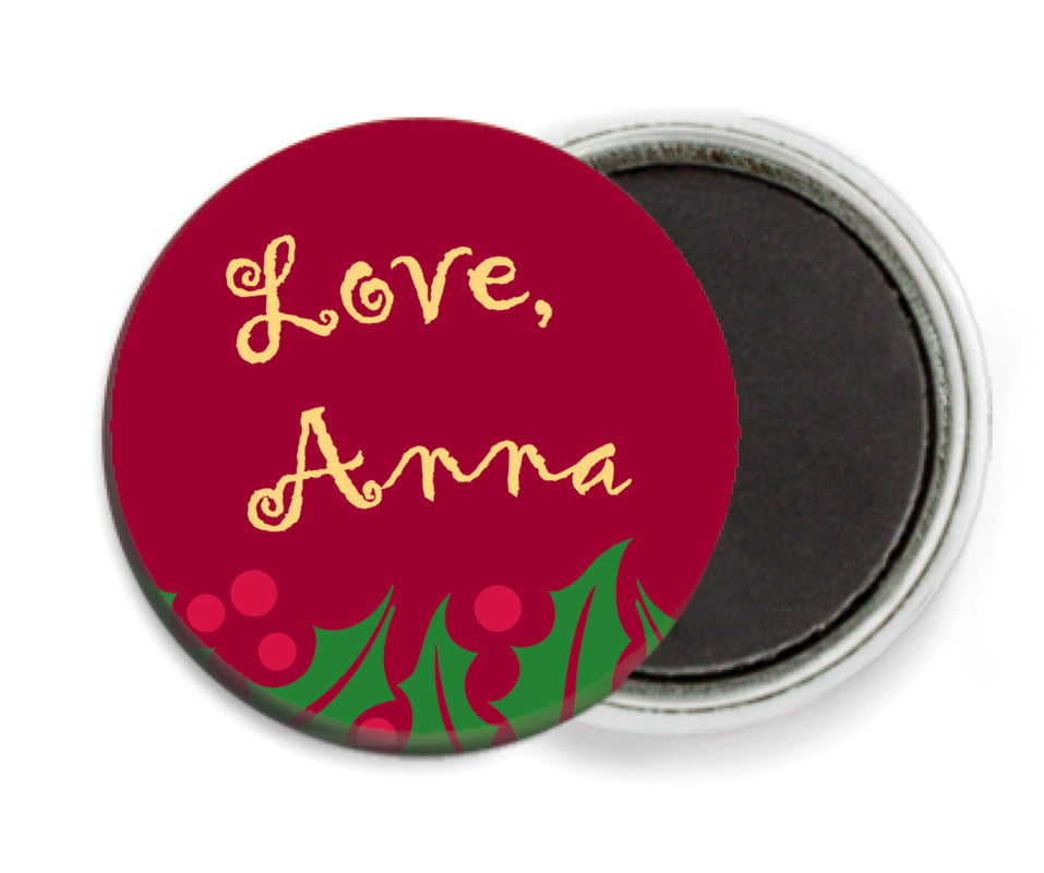 custom button magnets - dark red & gold - holly bright (set of 6)