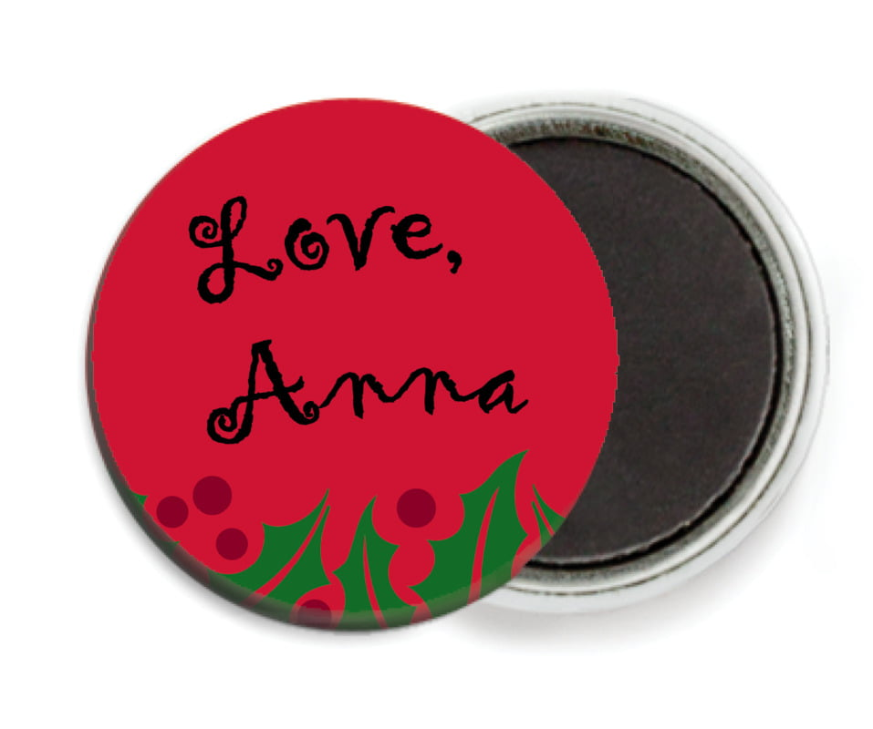 custom button magnets - bright red & green - holly bright (set of 6)