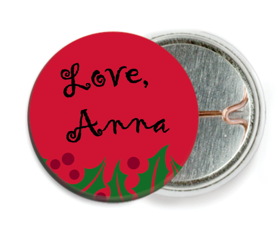 custom pin back buttons - bright red & green - holly bright (set of 6)