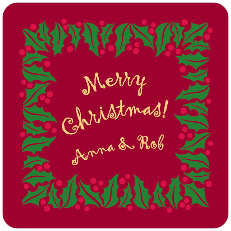 square holiday coasters - dark red & gold - holly bright (set of 12)