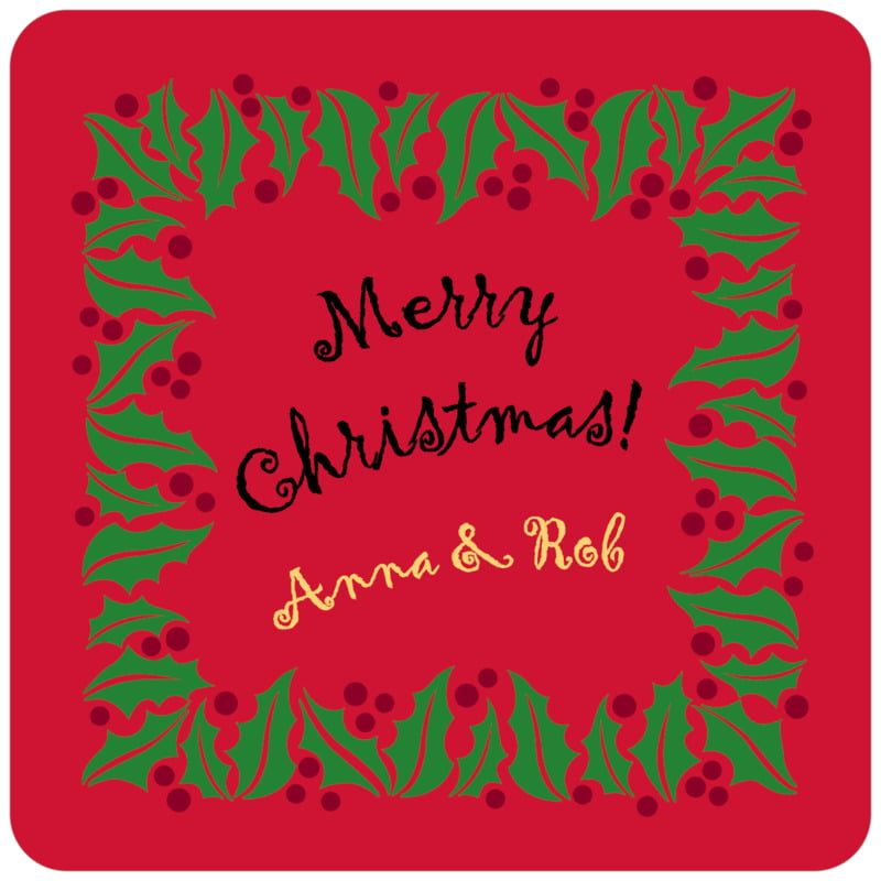 square holiday coasters - bright red & green - holly bright (set of 12)