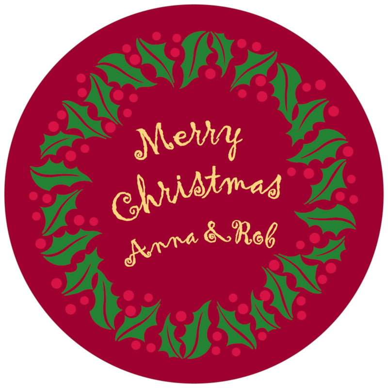 round holiday coasters - dark red & gold - holly bright (set of 12)