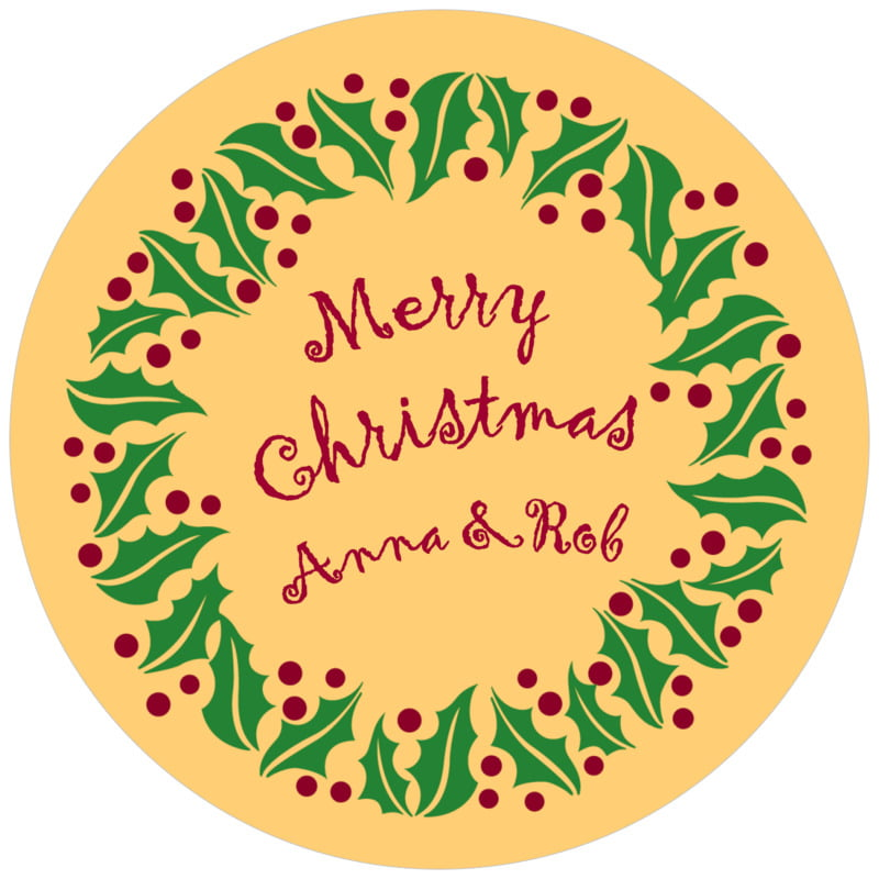 round holiday coasters - gold & dark red - holly bright (set of 12)