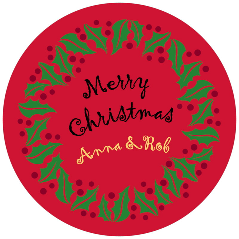 round holiday coasters - bright red & green - holly bright (set of 12)