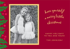 holiday cards - dark red & gold - holly bright (set of 10)