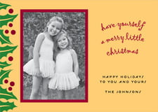holiday cards - gold & dark red - holly bright (set of 10)
