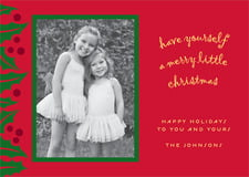 holiday cards - bright red & green - holly bright (set of 10)
