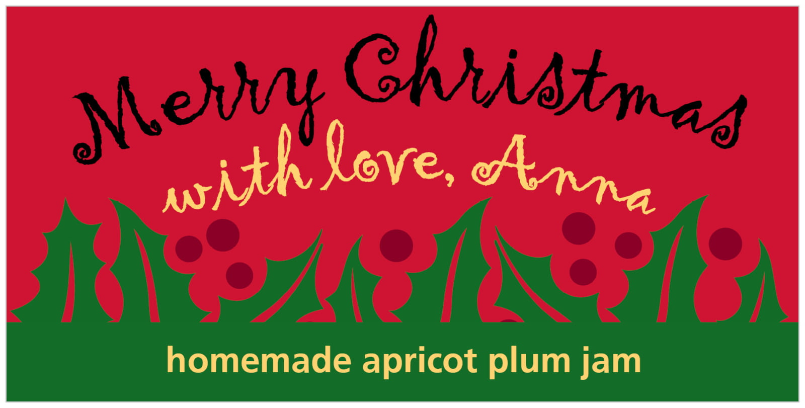 small rectangular food/craft labels - bright red & green - holly bright (set of 24)