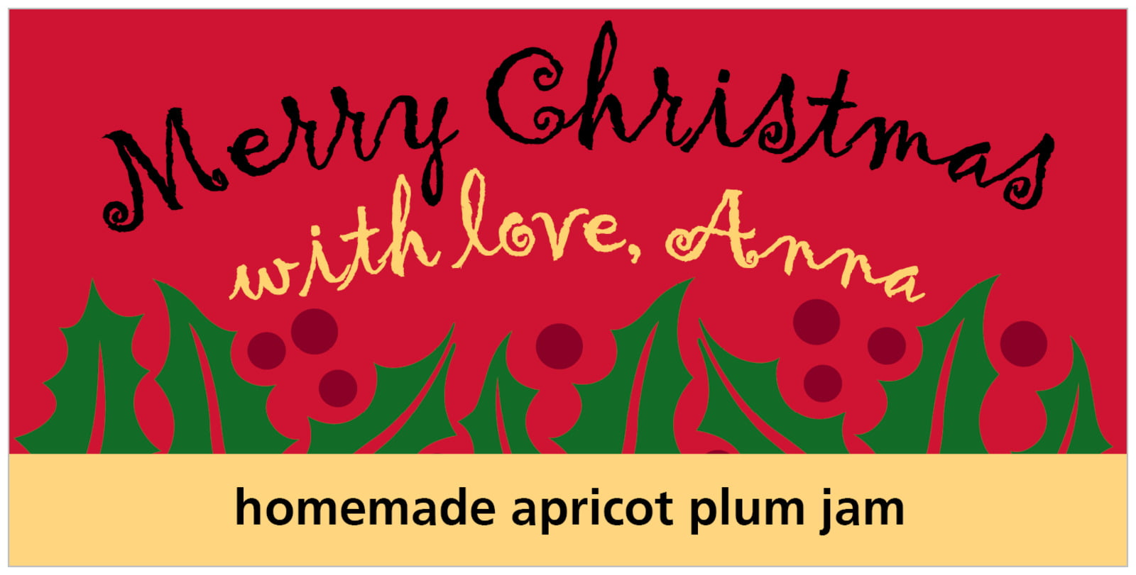 small rectangular food/craft labels - bright red & gold - holly bright (set of 24)