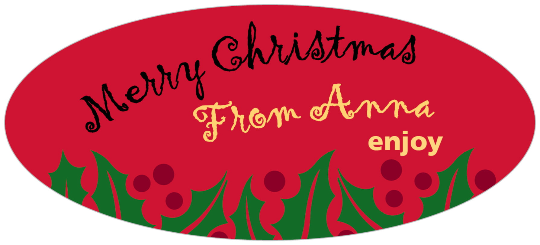 oval food/craft labels - bright red & green - holly bright (set of 30)