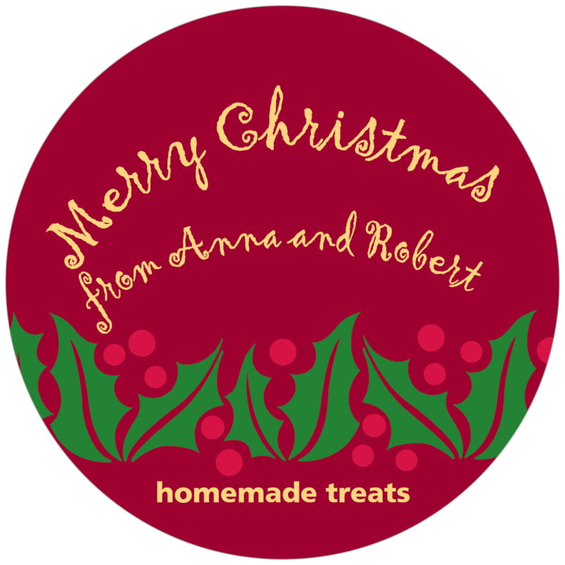 circle food/craft labels - dark red & gold - holly bright (set of 12)