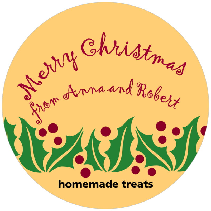 circle food/craft labels - gold & dark red - holly bright (set of 12)
