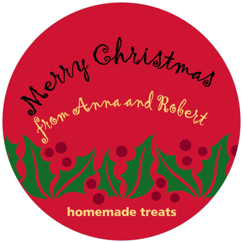 circle food/craft labels - bright red & gold - holly bright (set of 12)