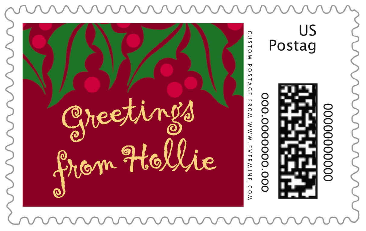 custom large postage stamps - dark red & gold - holly bright (set of 20)