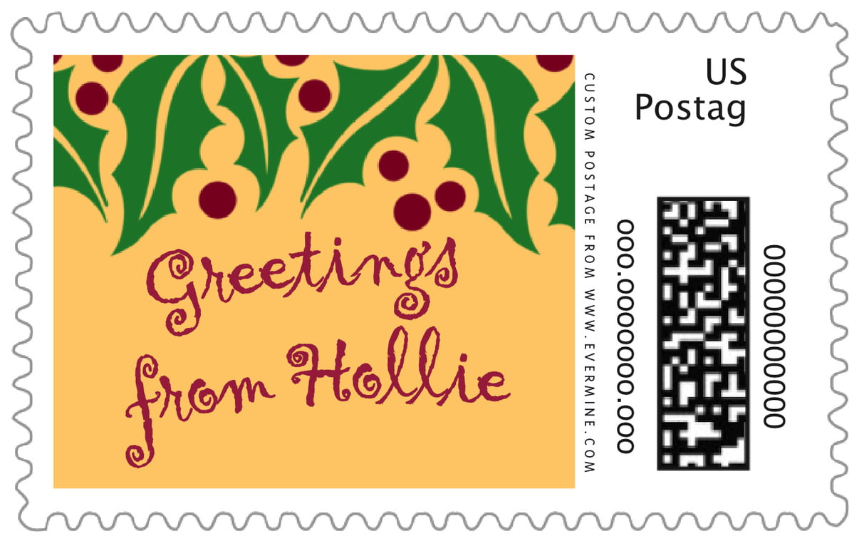 custom large postage stamps - gold & dark red - holly bright (set of 20)