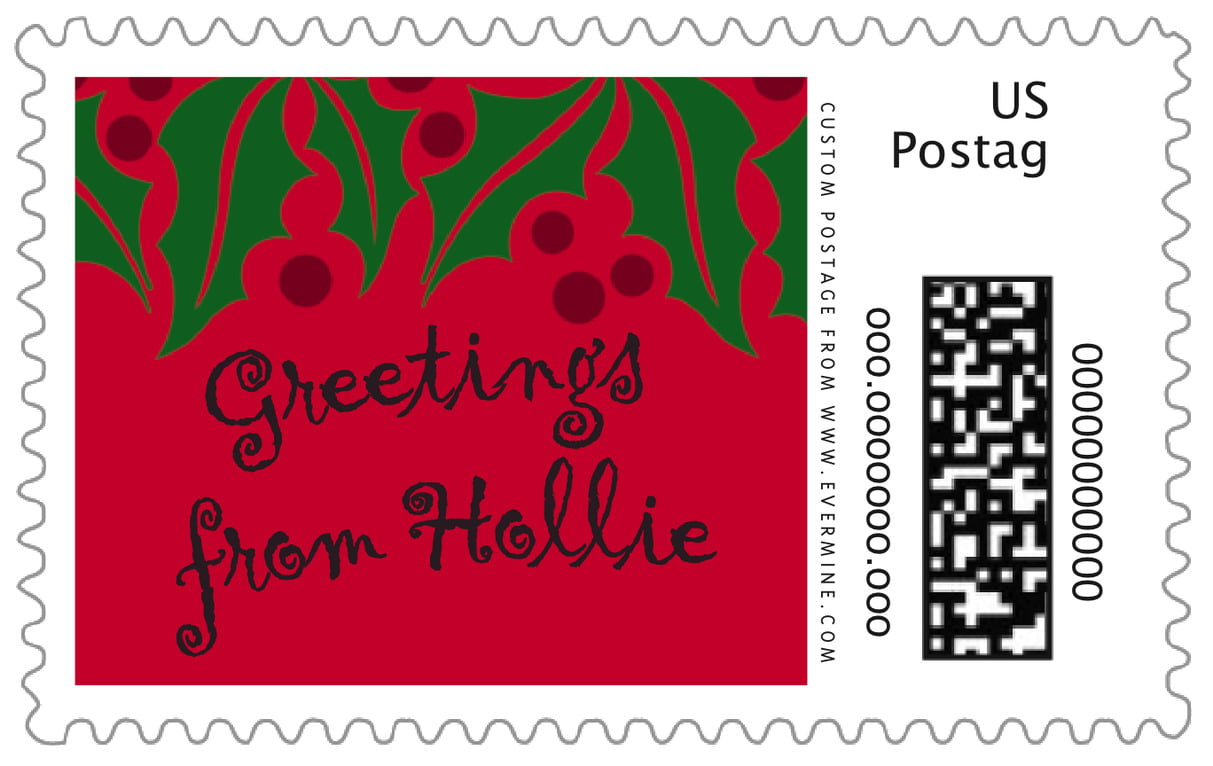 custom large postage stamps - bright red & green - holly bright (set of 20)