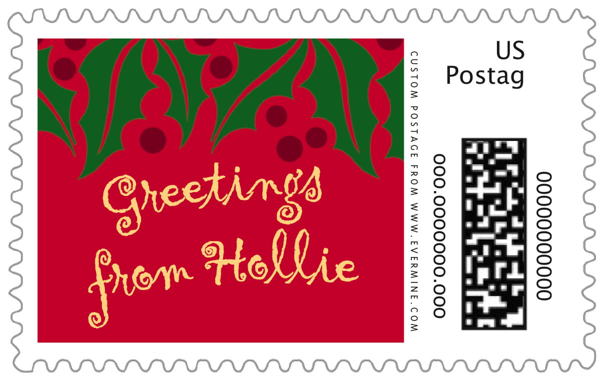 custom large postage stamps - bright red & gold - holly bright (set of 20)