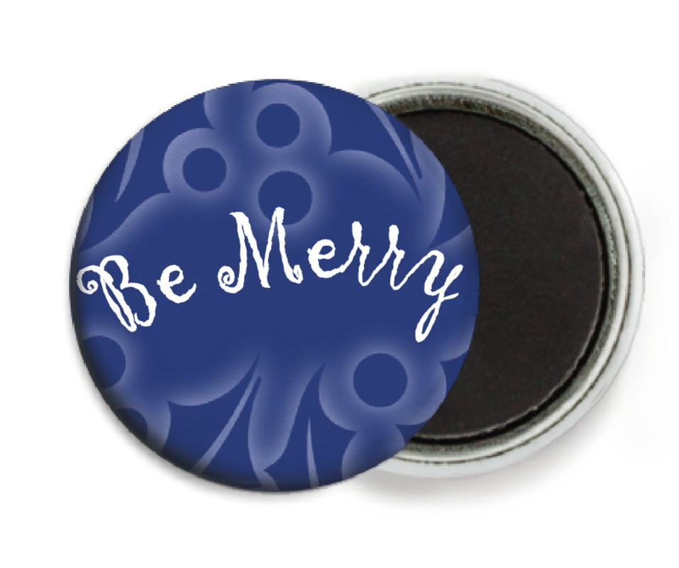 custom button magnets - deep blue - holly glow (set of 6)