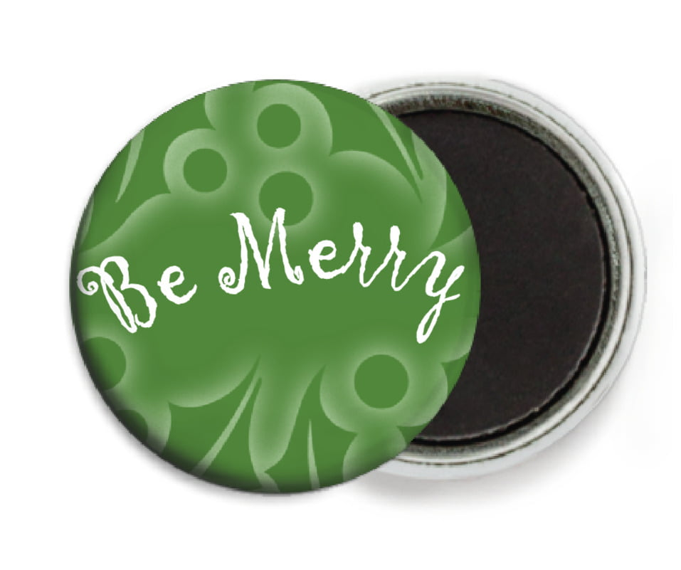 custom button magnets - green - holly glow (set of 6)