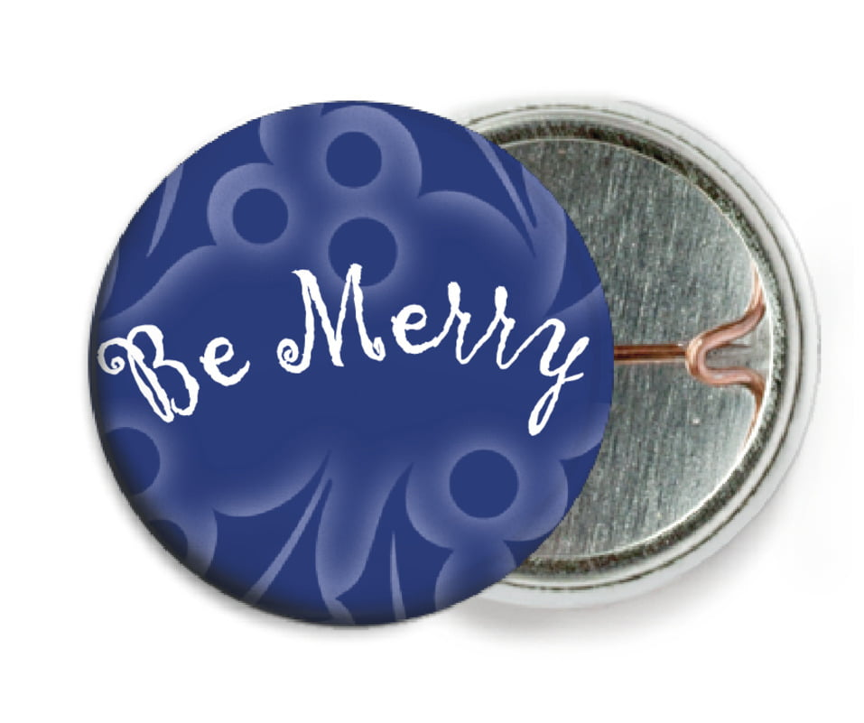 custom pin back buttons - deep blue - holly glow (set of 6)