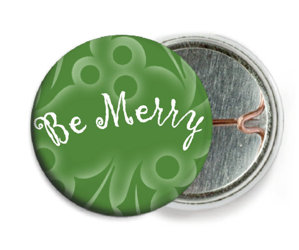 custom pin back buttons - green - holly glow (set of 6)