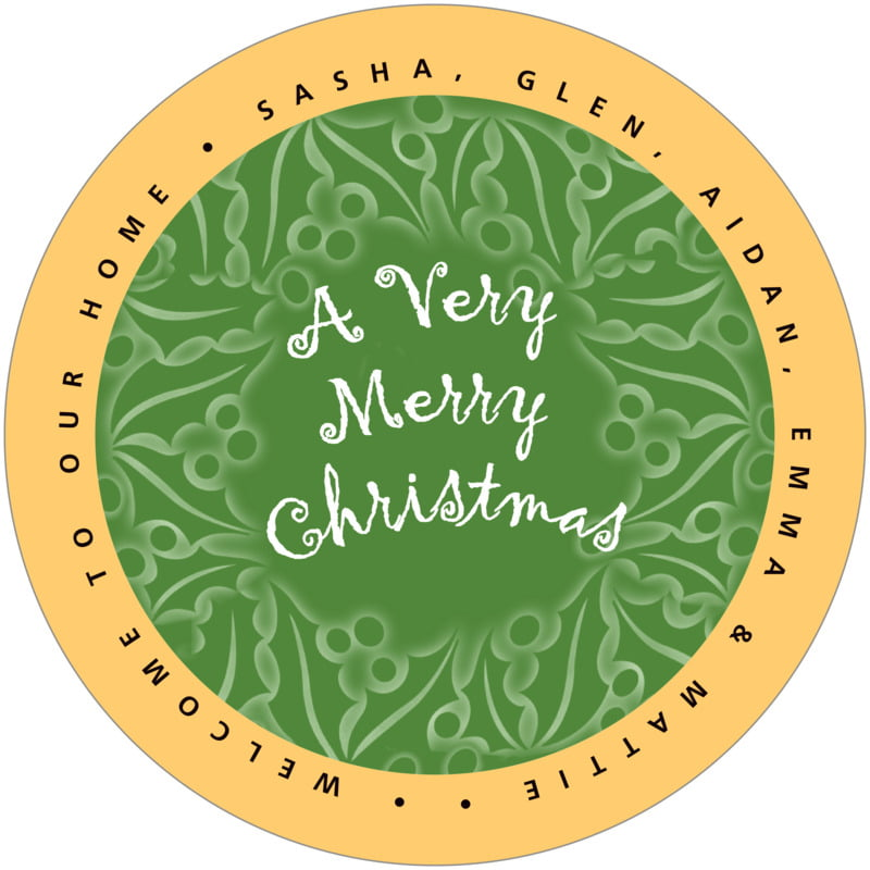 round holiday coasters - green - holly glow (set of 12)