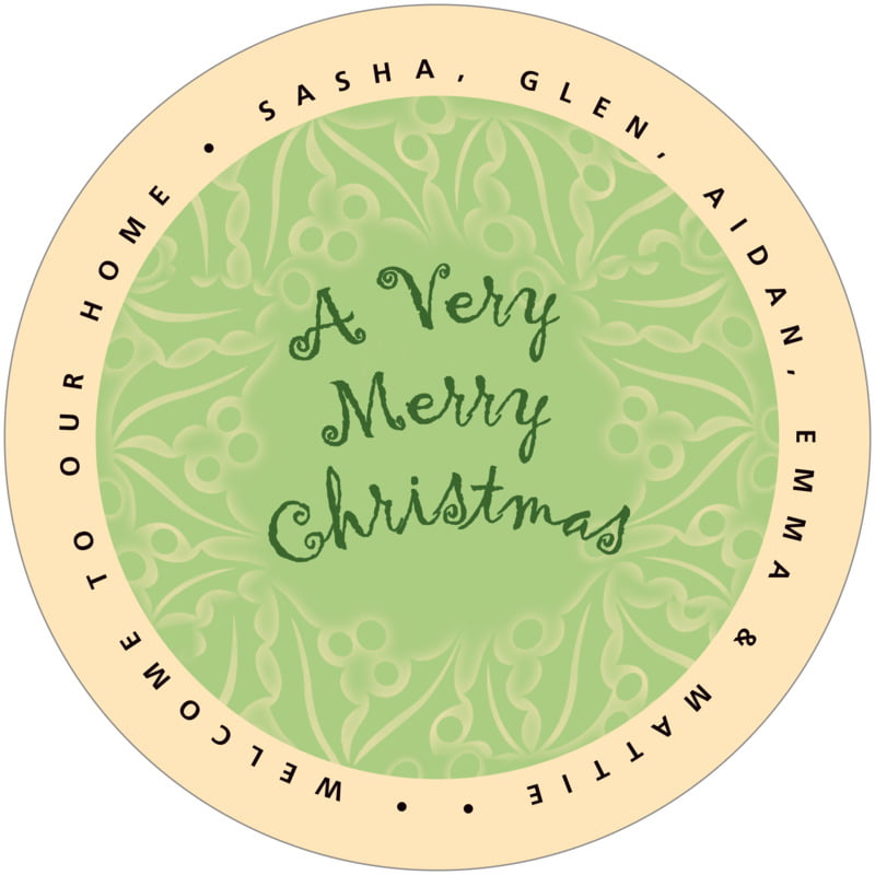 round holiday coasters - green tea - holly glow (set of 12)