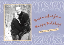 holiday cards - pale blue - holly glow (set of 10)