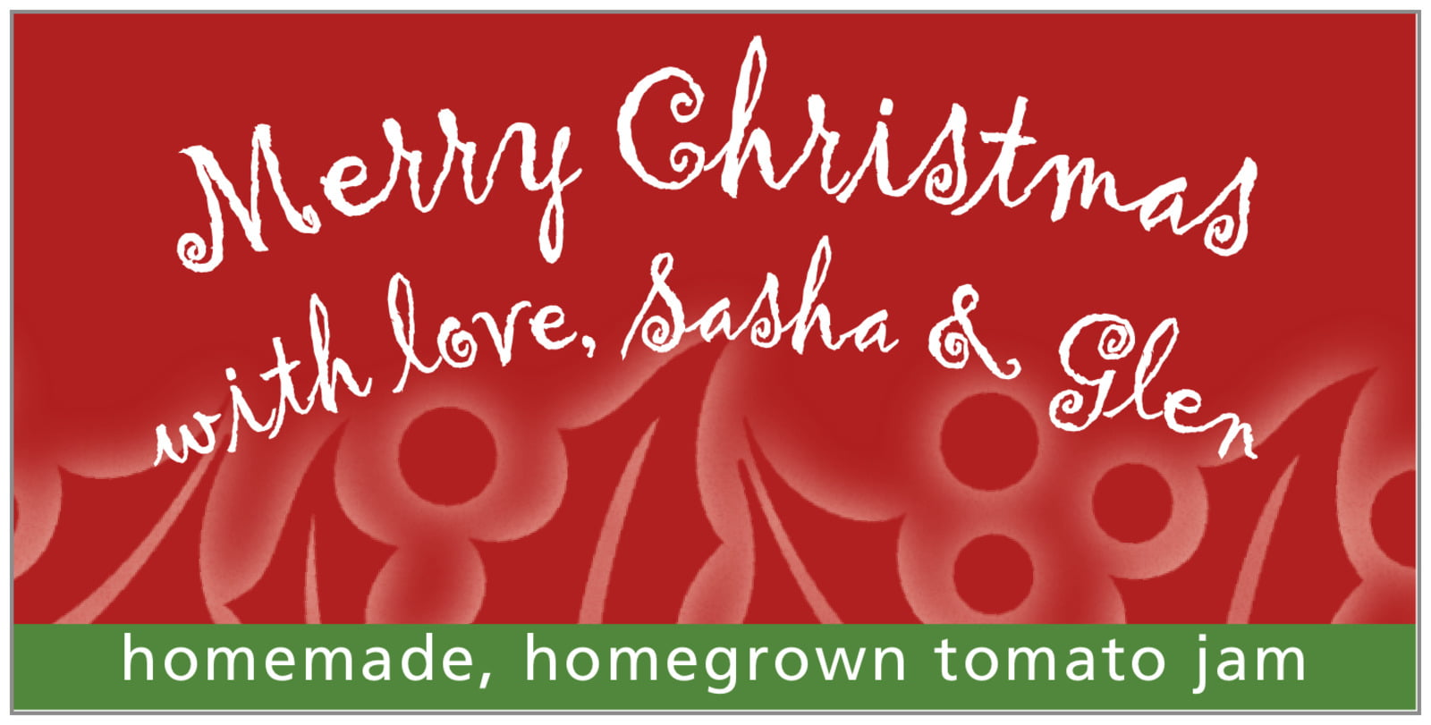 small rectangular food/craft labels - deep cinnamon - holly glow (set of 24)