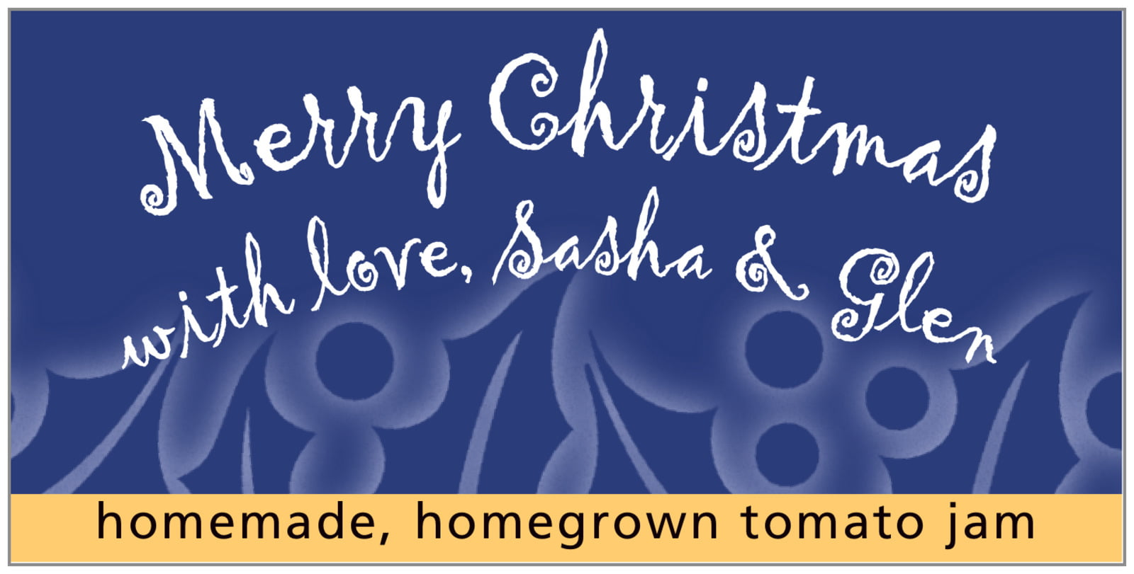 small rectangular food/craft labels - deep blue - holly glow (set of 24)