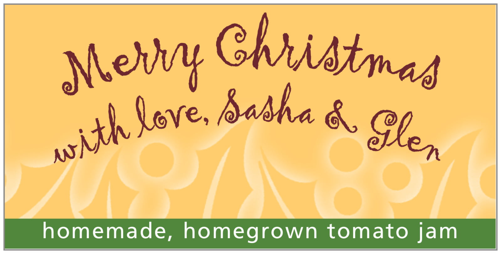 small rectangular food/craft labels - deep gold - holly glow (set of 24)