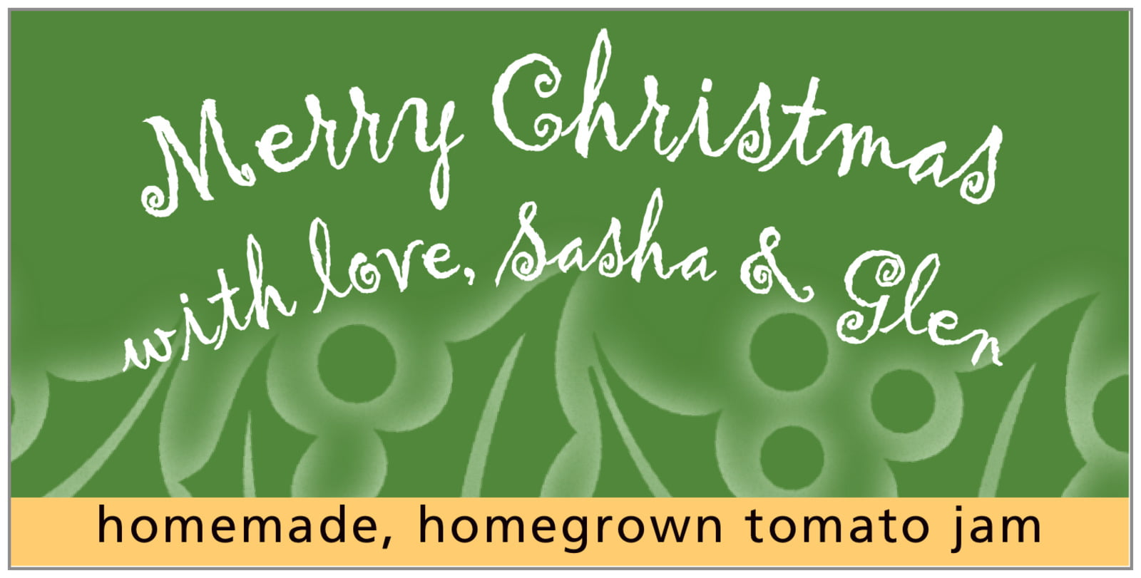 small rectangular food/craft labels - green - holly glow (set of 24)