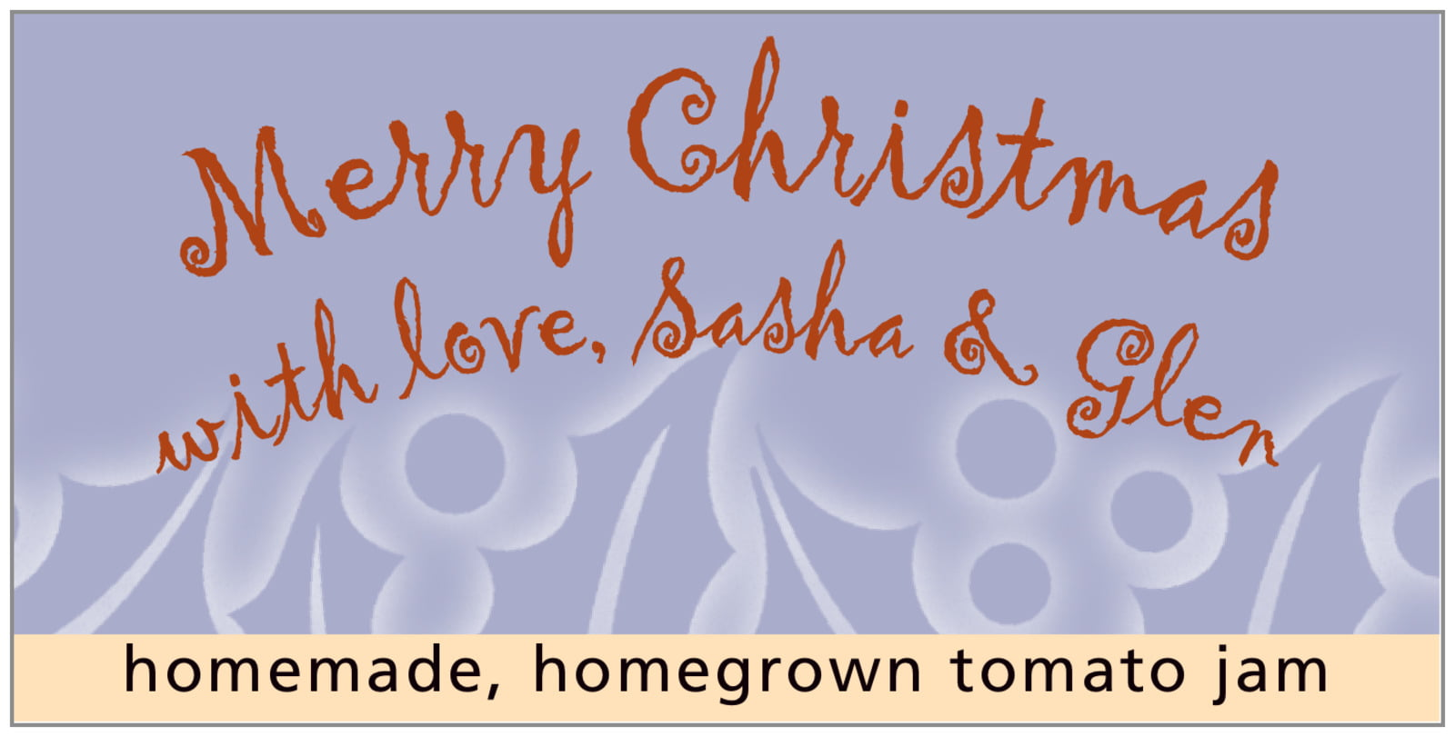 small rectangular food/craft labels - pale blue - holly glow (set of 24)