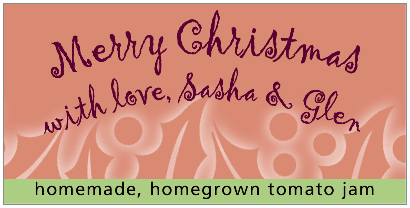 small rectangular food/craft labels - pale cinnamon - holly glow (set of 24)