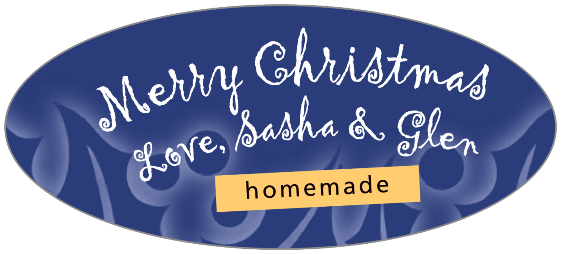 oval food/craft labels - deep blue - holly glow (set of 30)