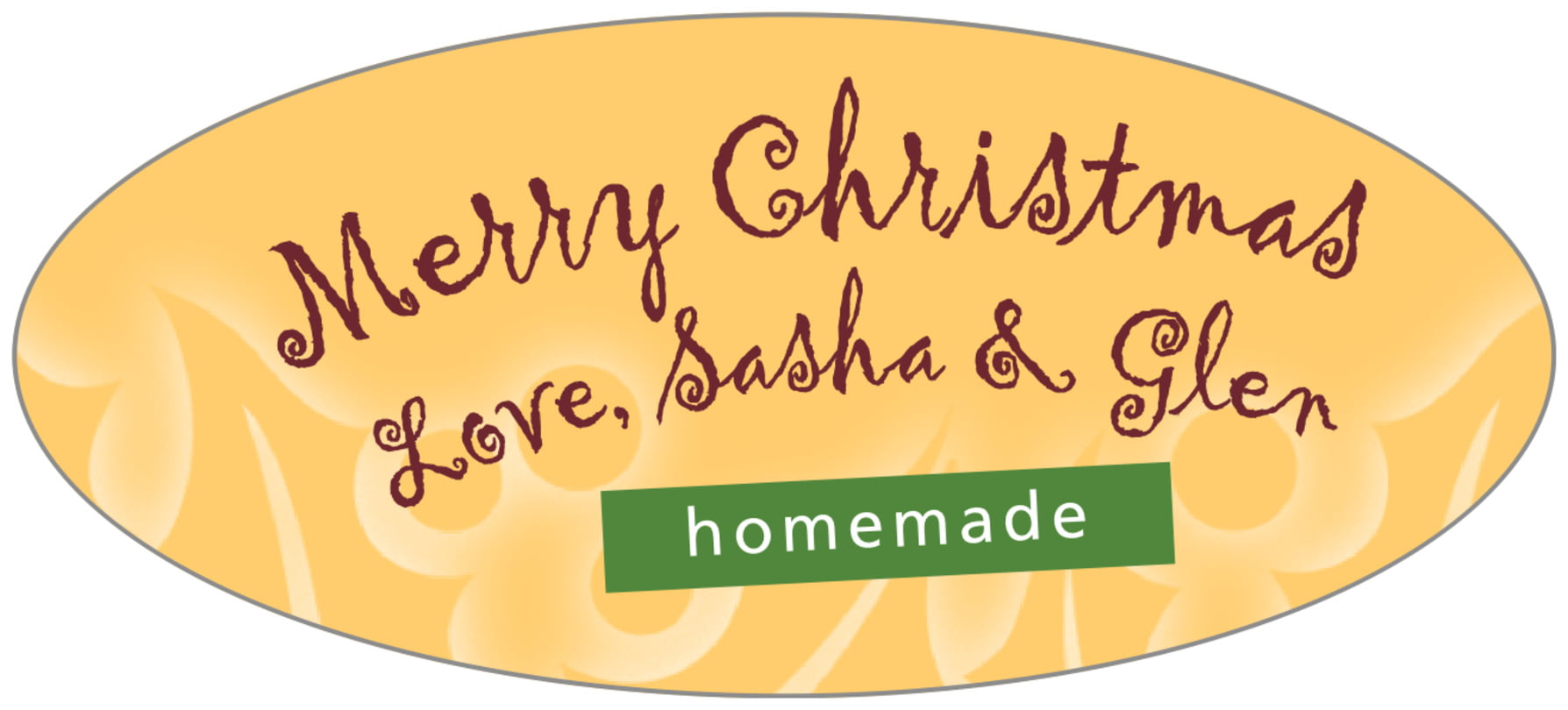 oval food/craft labels - deep gold - holly glow (set of 30)