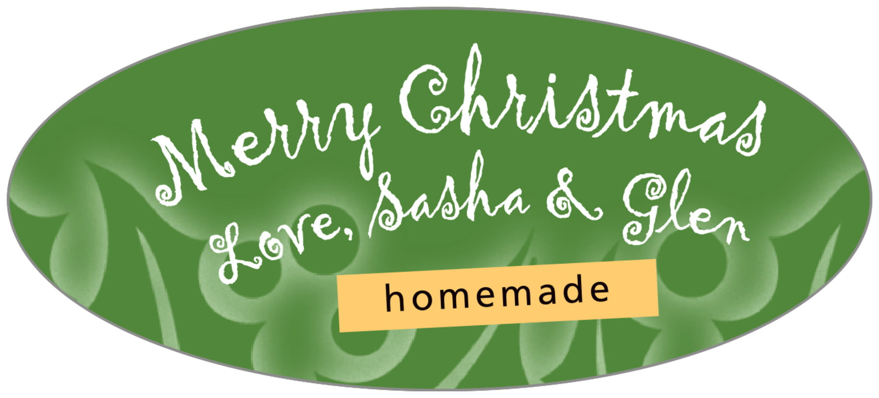 oval food/craft labels - green - holly glow (set of 30)