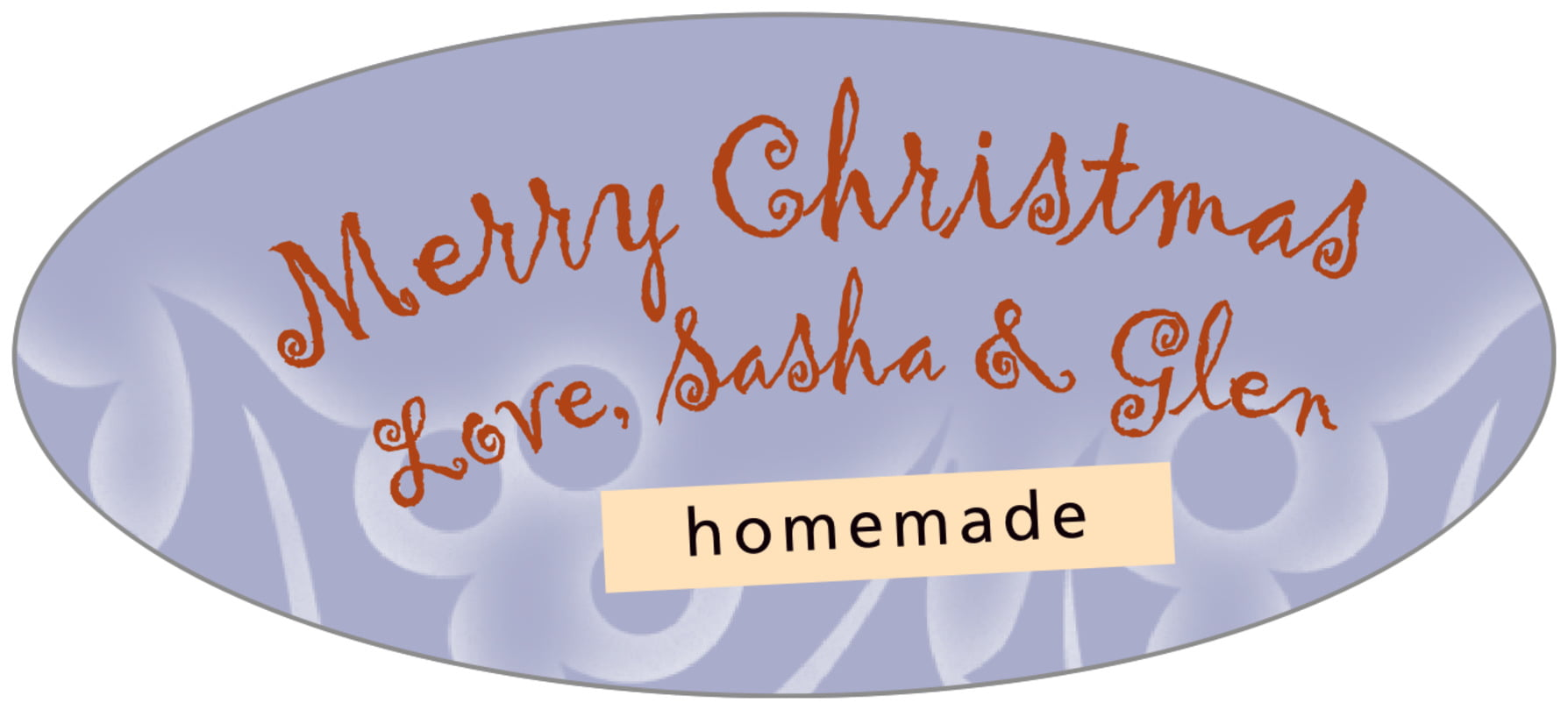 oval food/craft labels - pale blue - holly glow (set of 30)