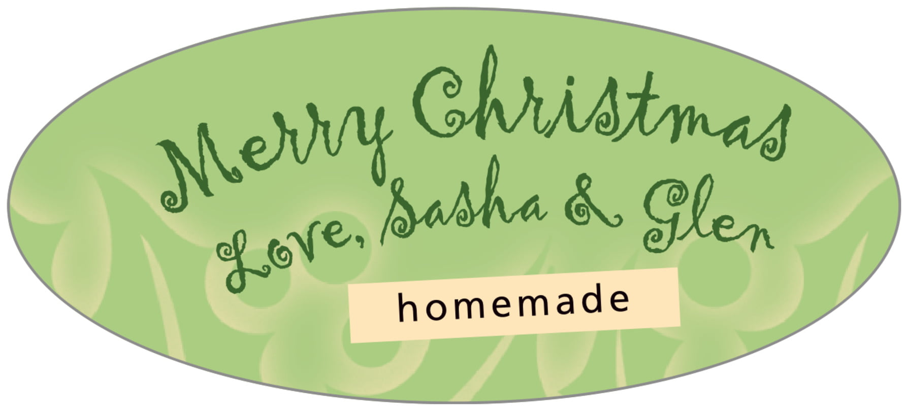 oval food/craft labels - green tea - holly glow (set of 30)